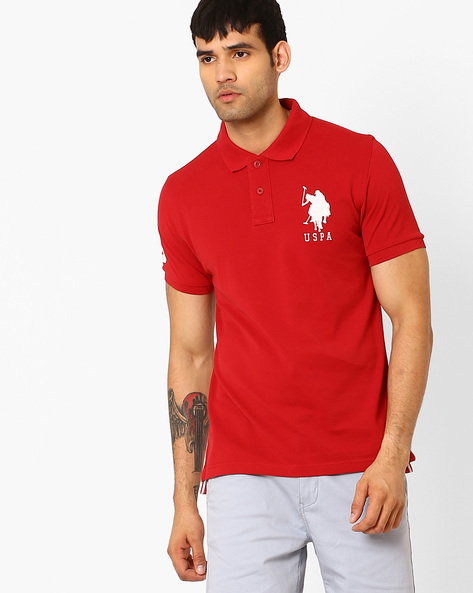 Regular Fit High-Low Polo T-shirt By US POLO ( Red )