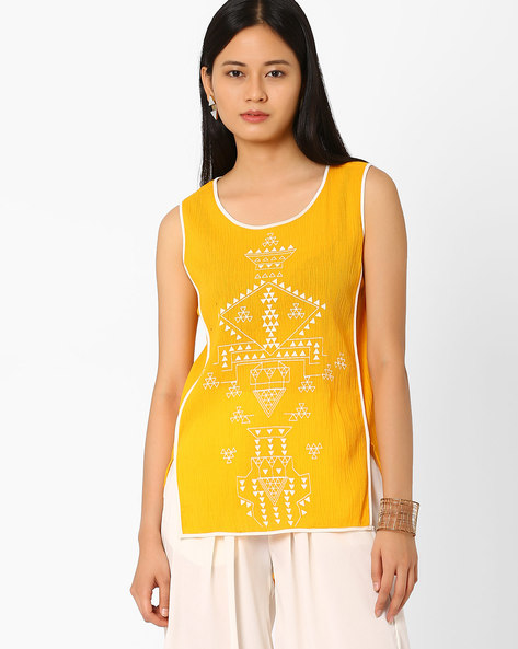 Tribal Print Top By Global Desi ( Yellow )