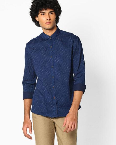 Printed Cotton Shirt By NETPLAY ( Darkblue )
