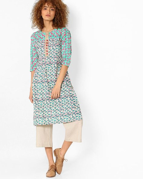 Printed Straight Kurta By SOCH ( Green )