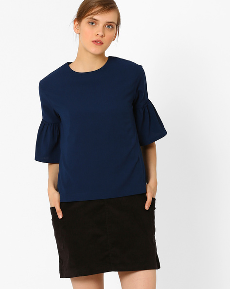 Crew-Neck Top With Flounce Sleeves By AJIO ( Navyblue )