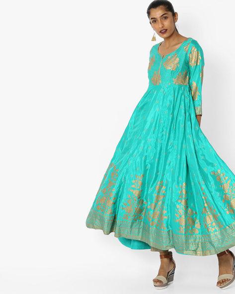 Printed Flared Kurta By Biba ( Turquoise )