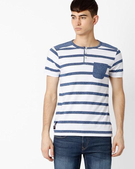Striped Henley T-shirt By TEAM SPIRIT ( Navy )