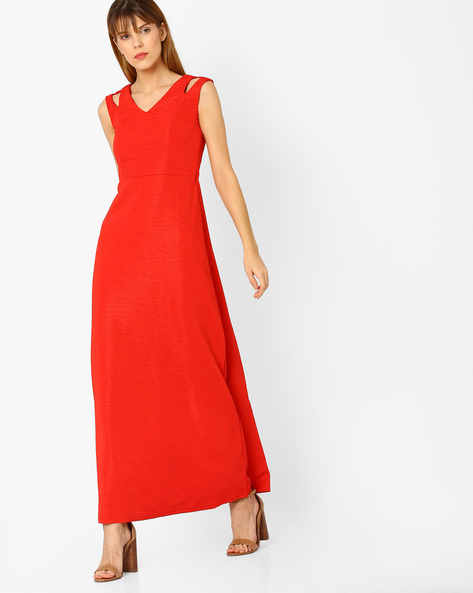 Sleeveless Maxi Dress By And ( Red )