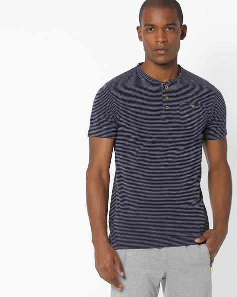 Striped Henley T-shirt With Patch Pocket By DNMX ( Navy )