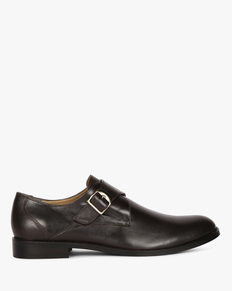 Genuine Leather Formal Monk Shoes By ESCARO ( Brown )