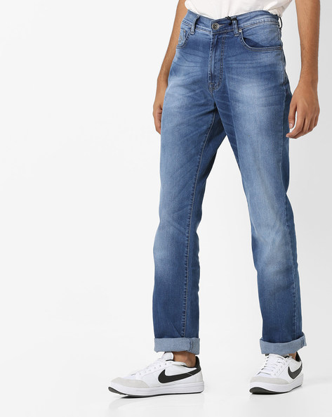 Mid-Rise Jeans With 5-Pocket Styling By Pepe Jeans ( Blue )