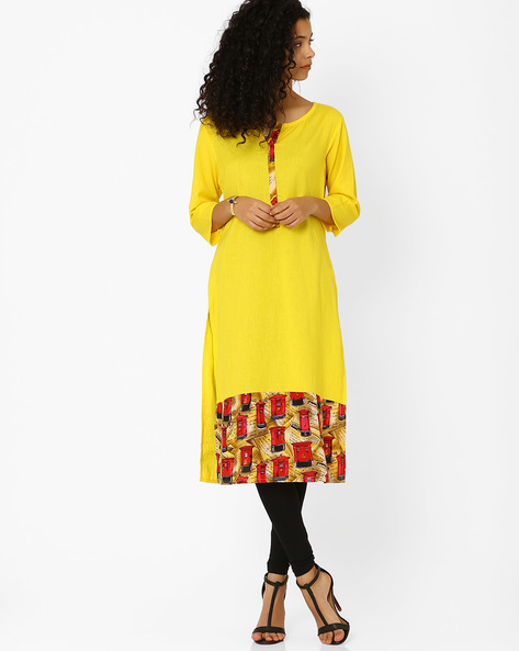 Cotton Kurta With Printed Hemline By Khimsariya ( Yellow )