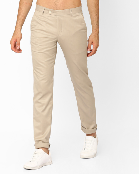 Flat-Front Slim Fit Trousers By British Club ( Beige )
