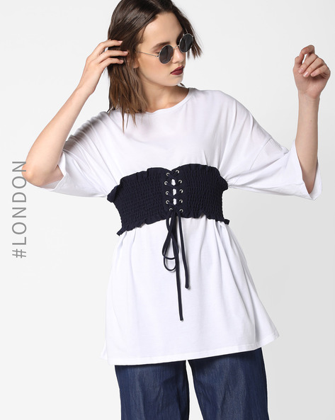 Top With Tie-Up Waist Corset By Glamorous ( Navy )