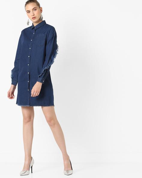 Denim Shirt Dress With Twisted Frill By AJIO ( Darkblue )