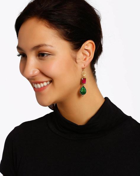 Gold-Plated Dangler Earrings By Shabnam Gitanjali ( Pink ) - 460012347001