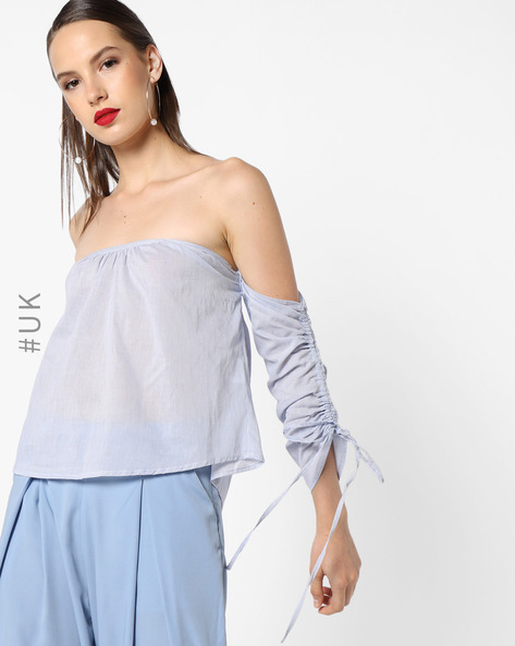 Self-Striped Off-Shoulder Top By INFLUENCE ( Blue )