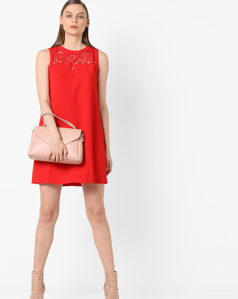 Sleeveless Shift Dress With Lace Insets By Project Eve WW Evening ( Red )