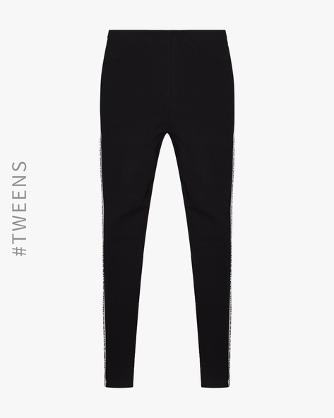Leggings With Elasticated Waist By AJIO ( Black )