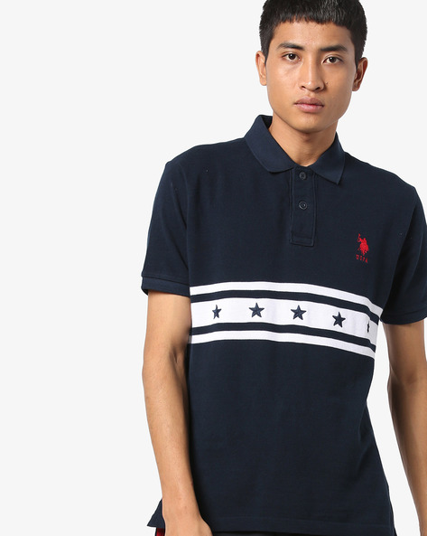 Contrast Striped Polo T-shirt By US POLO ( Navy )