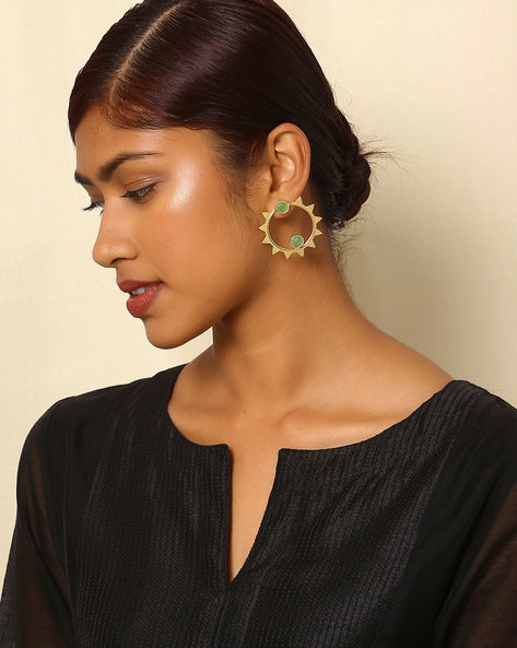 Gold-Plated Brass Stud Earrings By Indie Picks ( Multi ) - 460045155001