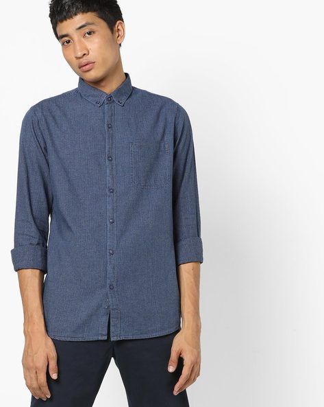 Slim Fit Shirt With Button-Down Collar By AJIO ( Lightblue )