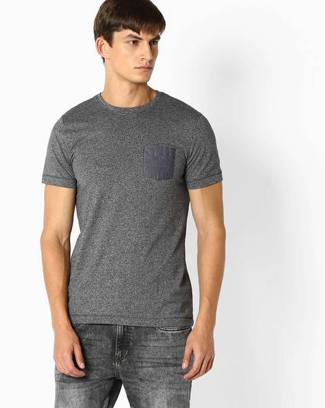 Round Neck T-shirt With Chest Pocket By TEAM SPIRIT ( Charcoal )