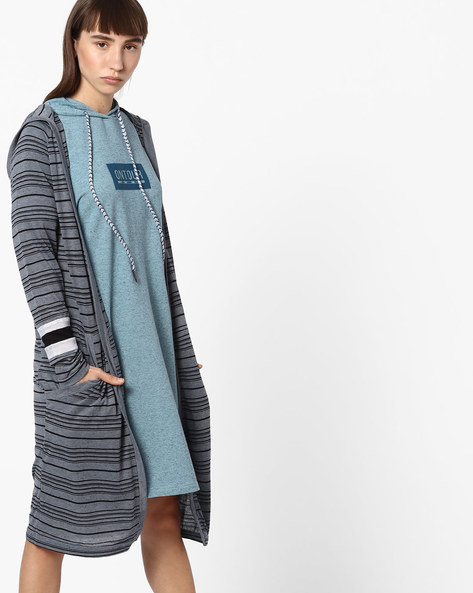 Striped Longline Shrug With Hood By Teamspirit ( Charcoal )
