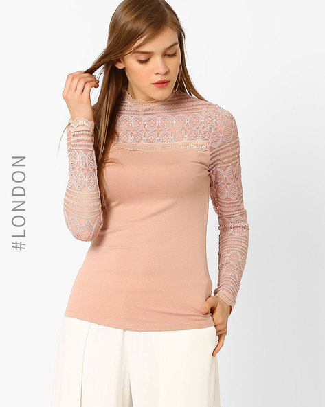 High-Neck Top With Lace By Marks & Spencer ( Lightpink )