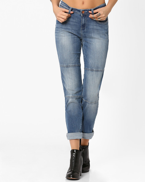 Panelled Slim Fit Jeans By AJIO ( Lightblue )