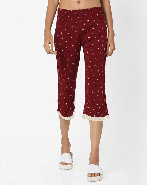 Printed Capris With Lace Trims By Ginger By Lifestyle ( Maroon )