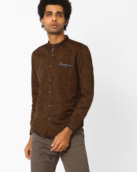 Cotton Shirt With Band Collar By SIN ( Brown )