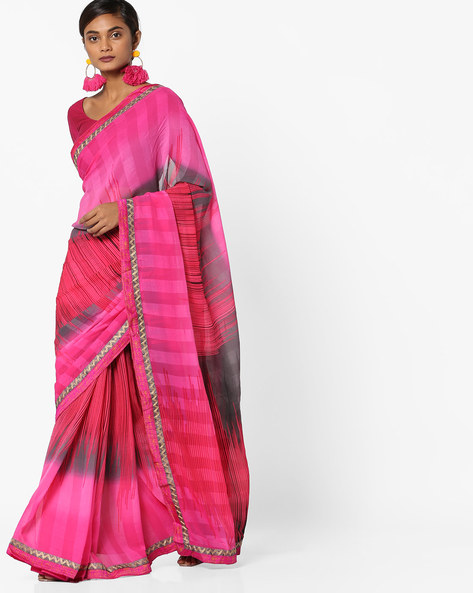 Printed Saree With Contrast Taping By Shonaya ( Pink )