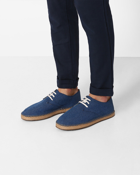 Lace-Up Espadrilles By Hats Off Accessories ( Blue )