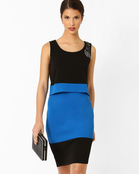 Colourblock Popover Dress By AJIO ( Blue )