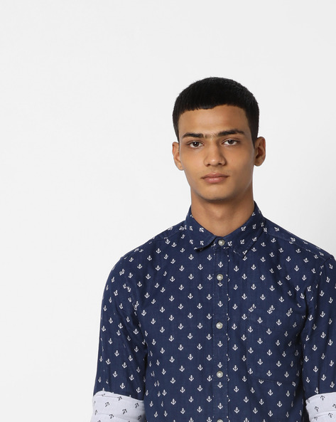 Anchor Print Shirt With Patch Pocket By Jack & Jones ( Blue )