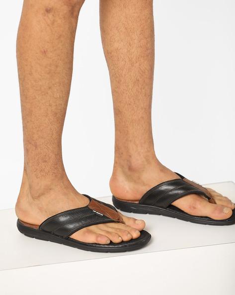 Leather Thong-Strap Flip-Flops By Lee Cooper ( Black )