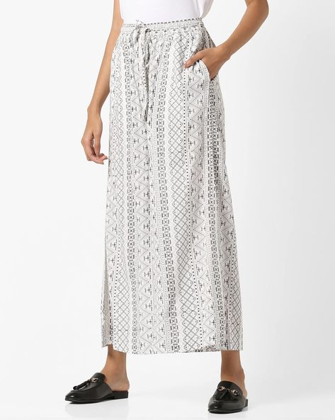 Printed Palazzos With Elasticated Waist By Project Eve IW Casual ( Offwhite )