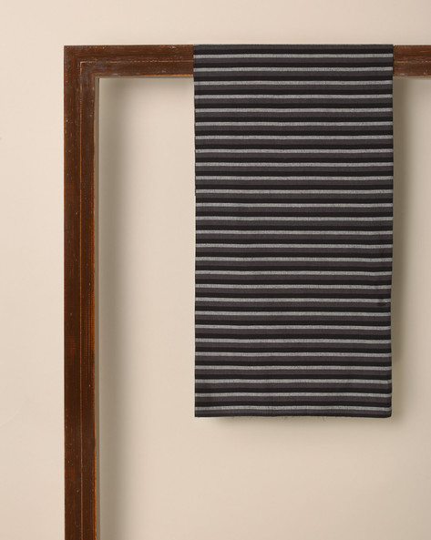 South Cotton Striped Kurta Fabric By Indie Picks ( Black )