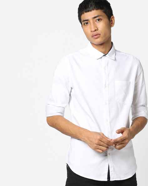 Slim Fit Cotton Shirt With Patch Pocket By Black Coffee ( White )