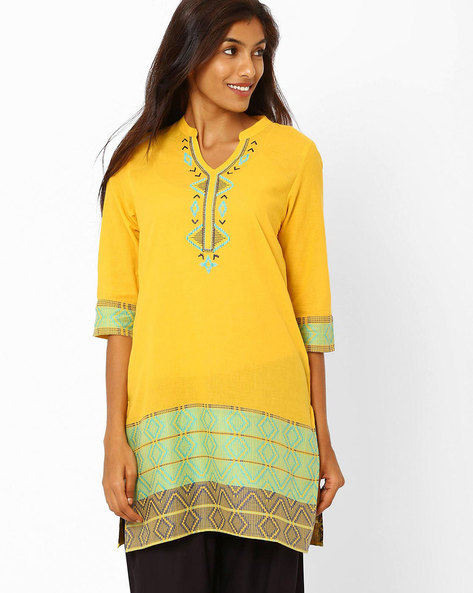 Kurti With Woven Design By AURELIA ( Yellow )
