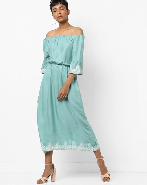 Printed Off-Shoulder Midi Dress By Tokyo Talkies ( Green )