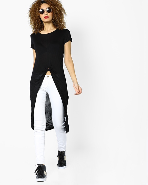 Knitted Top With Tulip Hemline By Ginger By Lifestyle ( Black )