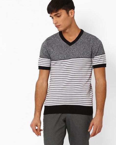 Flat-Knit Grindle V-Neck T-shirt By TEAM SPIRIT ( Greymelange )