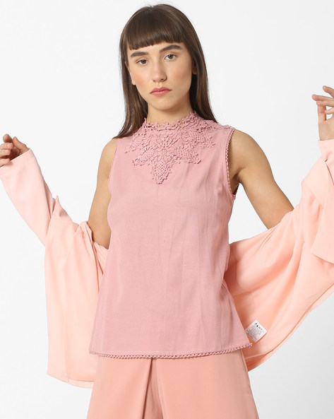 High-Neck Sleeveless Top With Crotchet Work By CODE By Lifestyle ( Pink )