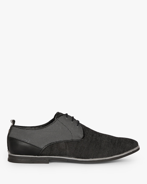 N9-Treated Textured Lace-Up Casual Shoes By AJIO ( Black ) - 460080089011