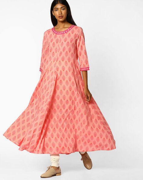 Printed A-line Kurta With Embroidery By AJIO ( Apricot )