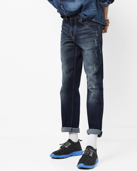 Prince Slim Light Distress Jeans By FLYING MACHINE ( Blue )