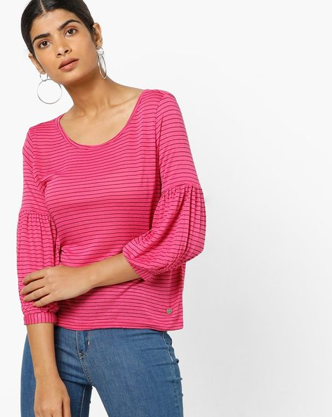Striped Top With Bishop Sleeves By Only ( Purple )