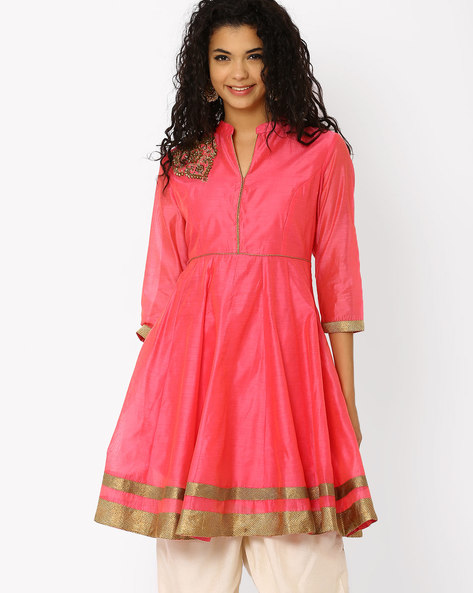Chanderi Kurta With Mandarin Collar By AJIO ( Pink )