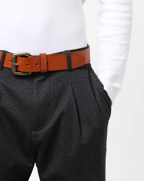 Genuine Leather Belt With Brass Buckle By AJIO ( Tan )
