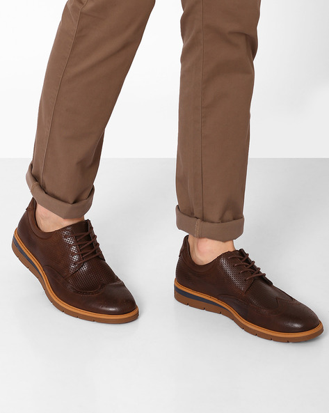 Genuine Leather Chelsea Formal Shoes By Spunk ( Brown )