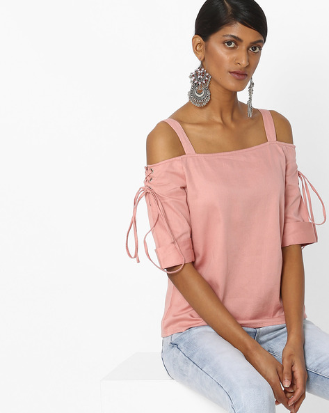 Cold-Shoulder Top With Lace-Up Sleeves By Femella ( Blush )