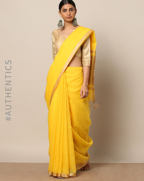 Handloom Pure Silk Cotton Saree With Zari Border By Indie Picks ( Yellow )